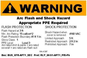 Arc flash study asset engineering for Danger arc flash labels